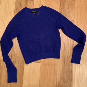 Topshop Stretch Knit Blue Cropped Sweater